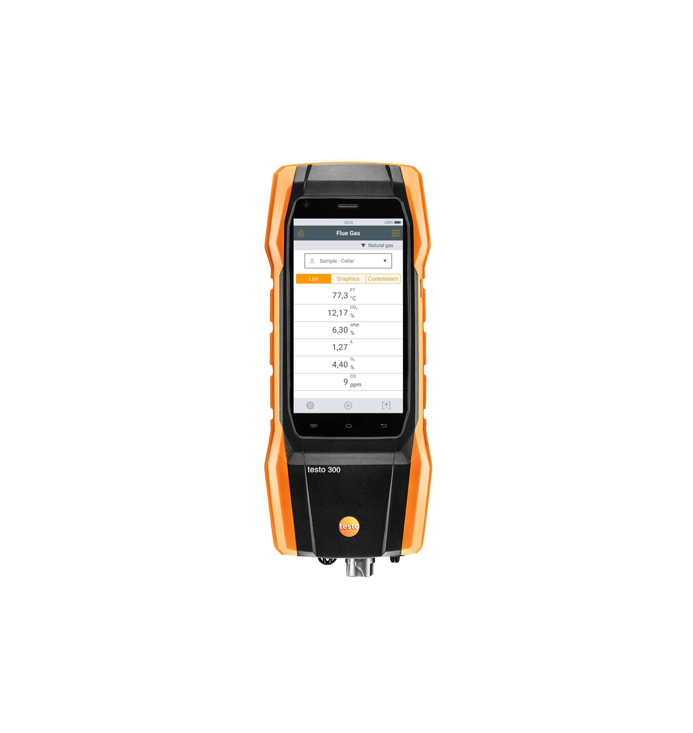 testo 300 Longlife - Flue gas analyzer (O2, CO H2-compensated up to 30,000 ppm, NO - can be retrofitted)